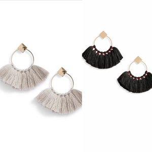 BP By Nordstrom Jewelry - BP. Nordstom Tassel Fan Earrings Black and Silver